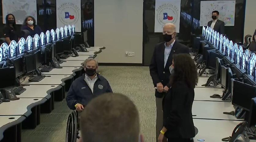 Gov, Greg Abbott, President Joe Biden and Judge Lina Hidalgo in the Harris County Office of Emergency Management Feb. 26, 2021 (Pool Photo)