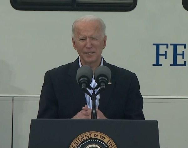 President Joe Biden at a mass vaccination site at NRG Stadium Feb. 26, 2021 (Pool Photo)