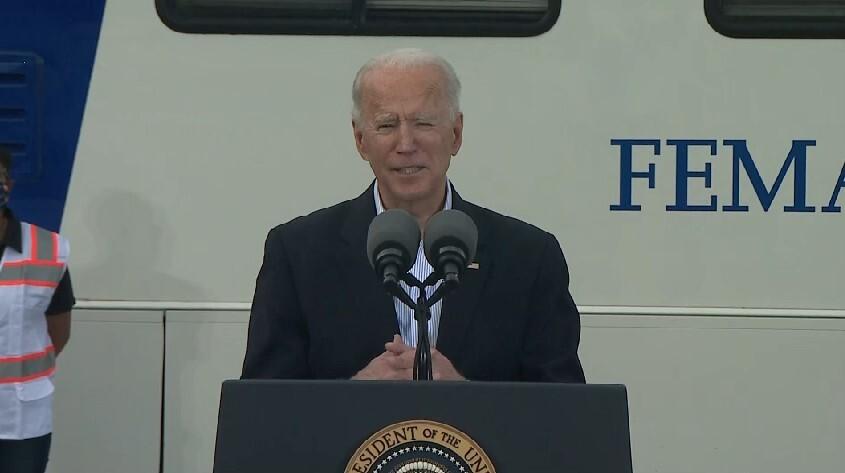 President Joe Biden at a mass vaccination site at NRG Stadium Feb. 26, 2021 (Pool Photo)