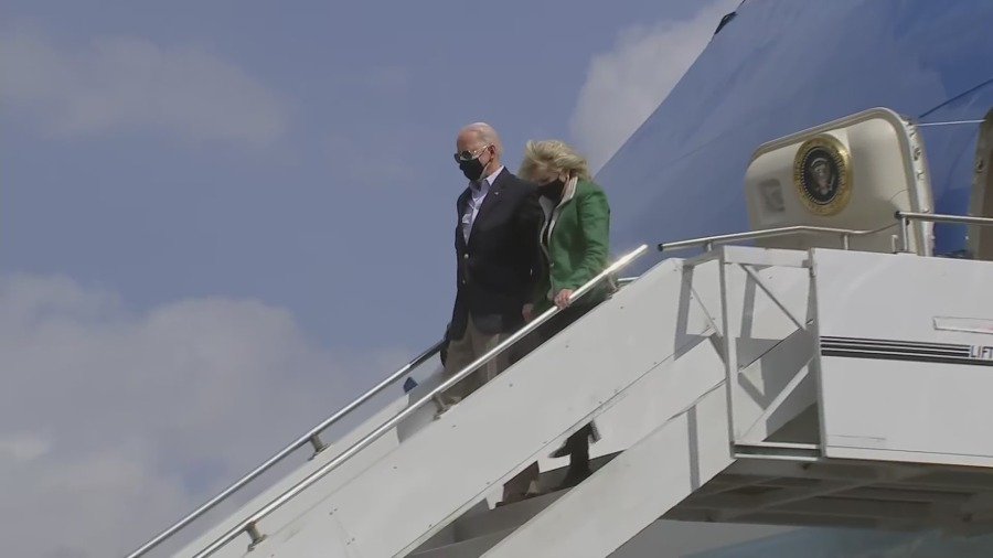 President Joe Biden and First Lady Dr. Jill Biden land in Houston Feb. 26, 2021 (Pool Photo)