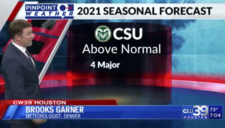 Meteorologist Brooks Garner in Denver on 2021 Hurricane Season Outlook