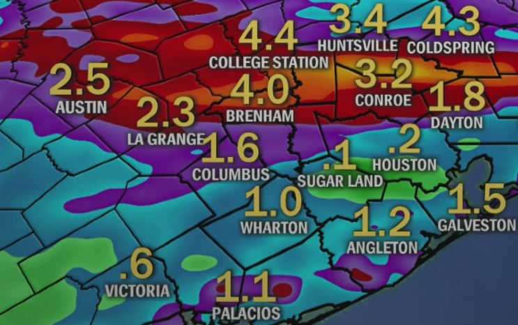 Rain in Houston through Friday