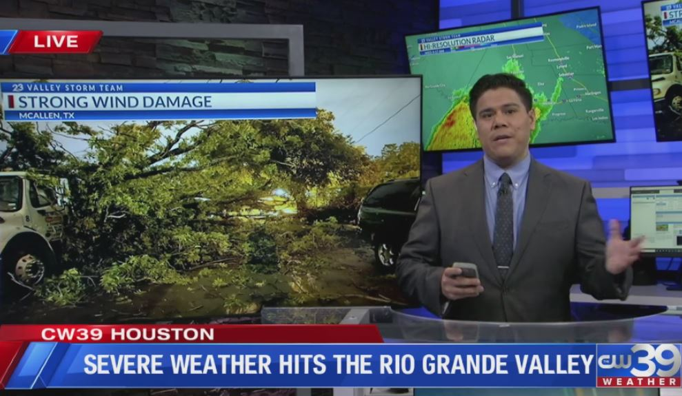 Chris Ramirez, Harlingen, TX on CW39 with Adam Krueger about Severe Weather in Rio Grande Valley, Texas